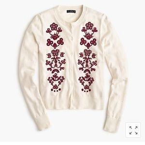 J. Crew Jackie Floral Embroidery Cardigan Sz M
